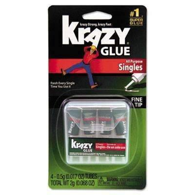 Krazy Glue® Krazy Glue Single-Use Tubes w/Storage Case, 0.07 oz, 4/Pack