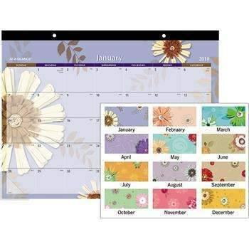 Janitorial Superstore AT-A-GLANCE® Paper Flowers Desk Pad, 22 x 17, 2018 - Janitorial Superstore