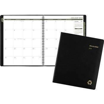 Janitorial SuperstoreAT-A-GLANCE® Recycled Monthly Planner, 9 x 11, Black, 2018