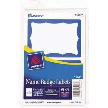 Janitorial Superstore Avery® Printable Self-Adhesive Name Badges, 2-11/32 x 3-3/8, Blue Border, 100/Pack - Janitorial Superstore