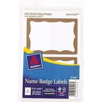 Janitorial Superstore Avery® Printable Self-Adhesive Name Badges, 2-11/32 x 3-3/8, Gold Border, 100/Pack - Janitorial Superstore