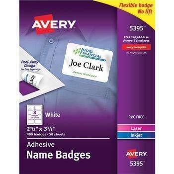 Janitorial Superstore Avery® Flexible Self-Adhesive Laser/Inkjet Name Badge Labels, 2 1/3 x 3 3/8, WE, 400/BX - Janitorial Superstore