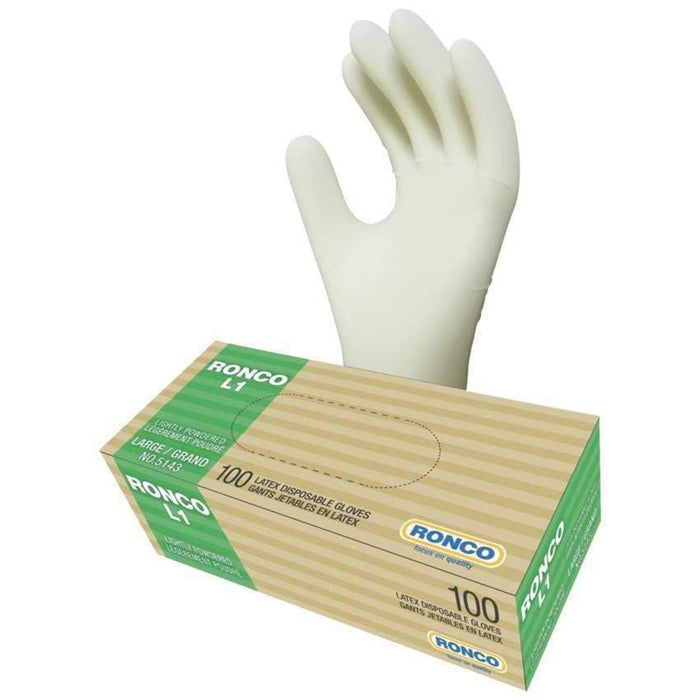 Ronco Ronco L1 Latex Powdered-Free Disposable Gloves (3 mil), 1,000 Case (10 Boxes of 100) - Janitorial Superstore