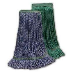 "Janitorial Superstore Large Green HYBRID Microfiber STRING Wet Mop--1 1/4"" BAND - Janitorial Superstore"