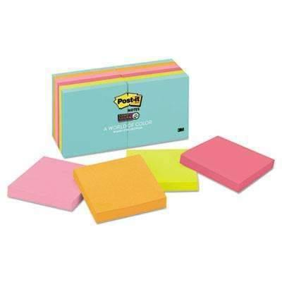 Janitorial Superstore Post-it® Notes Super Sticky Pads in Miami Colors, 3 x 3, 90/Pad, 12 Pads/Pack - Janitorial Superstore