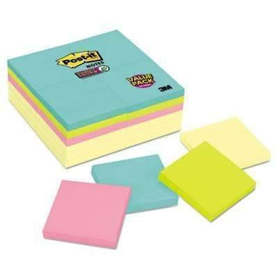 Janitorial SuperstorePost-it® Notes Super Sticky Note Pads Office Pack, 3 x 3, Canary/Miami, 90/Pad, 24 Pads/Pack