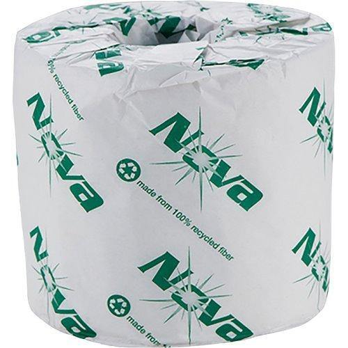 Nova Nova 4131 Standard 2-Ply White 100% Recycled Toilet Paper Rolls, 400 Sheets (96-Rolls/Case) - Janitorial Superstore