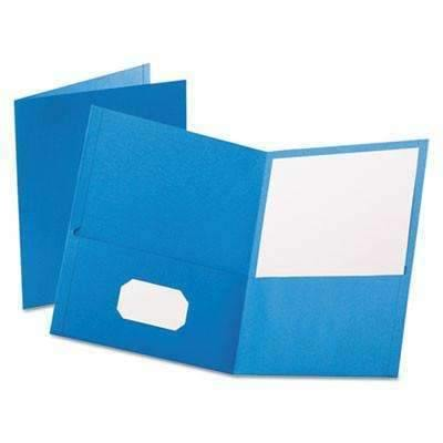 Janitorial Superstore Oxford™ Twin-Pocket Folder, Embossed Leather Grain Paper, Light Blue, 25/Box - Janitorial Superstore