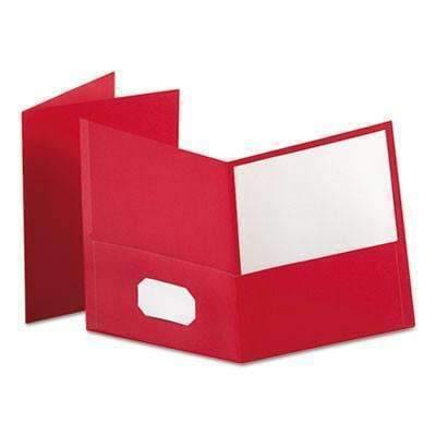 Janitorial SuperstoreOxford™ Twin-Pocket Folder, Embossed Leather Grain Paper, Red, 25/Box