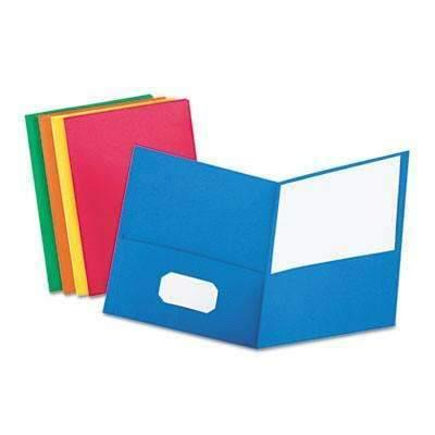 Janitorial Superstore Oxford™ Twin-Pocket Folder, Embossed Leather Grain Paper, Assorted Colors, 25/Box - Janitorial Superstore