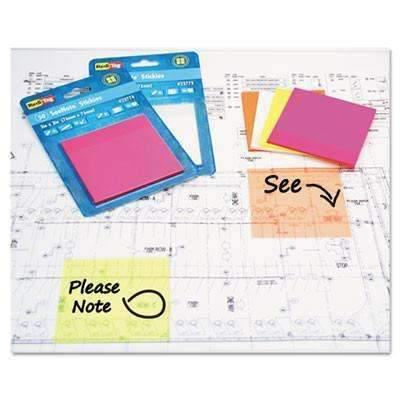 Janitorial Superstore Redi-Tag® Transparent Film Sticky Notes, 3 x 3, Neon Yellow, 50-Sheets/Pad - Janitorial Superstore