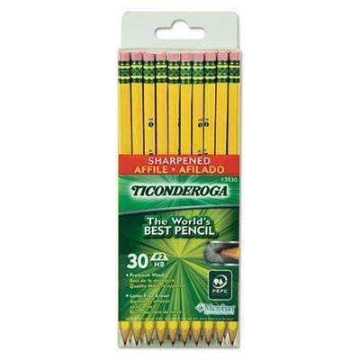 Ticonderoga® Pre-Sharpened Pencil, HB, #2, Yellow Barrel, 30/Pack