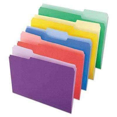 Janitorial SuperstoreUniversal® File Folders, 1/3 Cut Single-Ply Top Tab, Letter, Assorted, 100/Box
