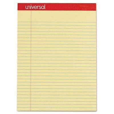 "Janitorial Superstore Universal® Perforated Edge Writing Pad, Legal/Margin Rule, Letter, Canary, 50 Sheet, Dozen, 8 1/2""x 11 3/4"" - Janitorial Superstore"