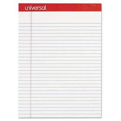"Janitorial Superstore Universal® Perforated Edge Writing Pad, Legal Ruled, Letter, White, 50 Sheet, Dozen, 8 1/2"" X 11 3/4"" - Janitorial Superstore"