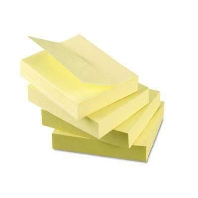Janitorial Superstore Universal® Recycled Self-Stick Note Pads, 1 1/2 x 2, Yellow, 100-Sheet, 12/Pack - Janitorial Superstore