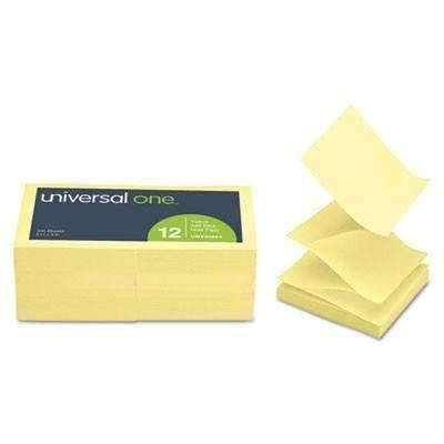 Janitorial SuperstoreUniversal® Fan-Folded Self-Stick Pop-Up Note Pads, 3 x 3, Yellow, 100-Sheet, 12/Pack