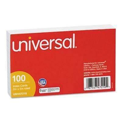 Janitorial SuperstoreUniversal® Ruled Index Cards, 3 x 5, White, 100/Pack