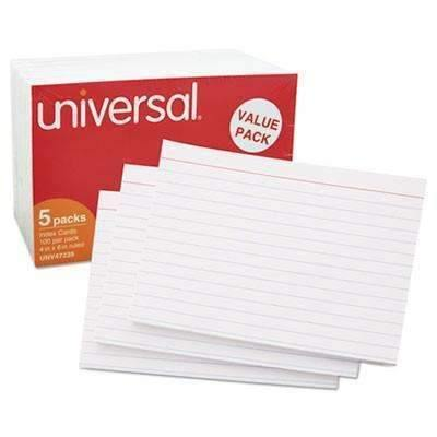 Janitorial Superstore Universal® Ruled Index Cards, 4 x 6, White, 500/Pack - Janitorial Superstore