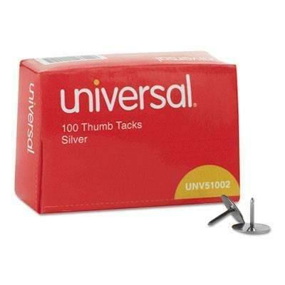 Janitorial SuperstoreUniversal® Thumb Tacks, Steel, Silver, 5/16, 100/Box