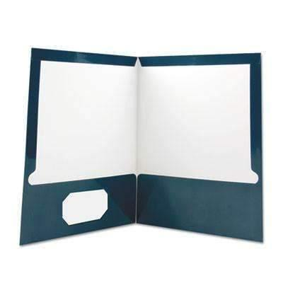 Janitorial SuperstoreUniversal® Laminated Two-Pocket Folder, Cardboard Paper, Navy, 11 x 8 1/2, 25/Box