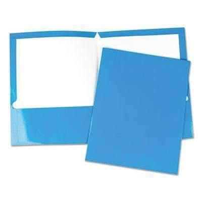 Janitorial SuperstoreUniversal® Laminated Two-Pocket Folder, Cardboard Paper, Blue, 11 x 8 1/2, 25/Box