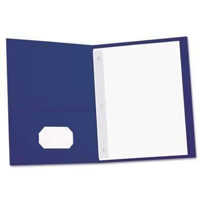 Janitorial SuperstoreUniversal® Two-Pocket Portfolios w/Tang Fasteners, 11 x 8-1/2, Blue, 25/Box