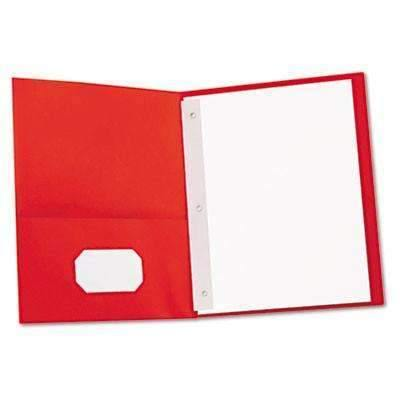 Janitorial Superstore Universal® Two-Pocket Portfolios w/Tang Fasteners, 11 x 8-1/2, Red, 25/Box - Janitorial Superstore