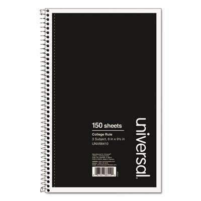 Janitorial SuperstoreUniversal® 3 Sub. Wirebound Notebook, 9 1/2 x 6, College Rule, 120 Sheets, Black Cover