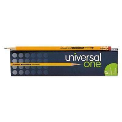 Universal® Blackstonian Pencil, F #2.5, Medium Firm, Yellow, 12 Pack