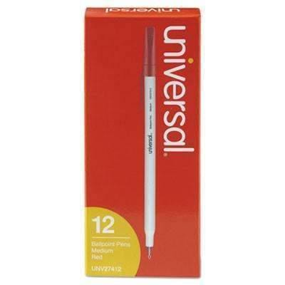 Economy Ballpoint Stick Oil-Based Pen, Red Ink, 12 Pack