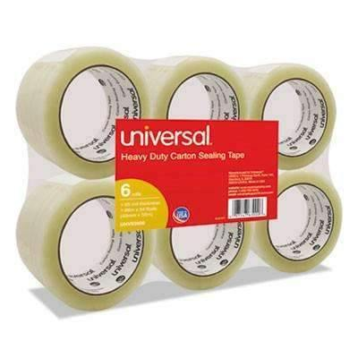Janitorial SuperstoreUniversal® General-Purpose Box Sealing Tape, 48mm x 54.8m, 3 Core, Clear, 6/Pack