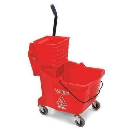 Janitorial Superstore35QT RED MOP BUCKET,HEAVY DUTY SIDE PRESS WRINGER,