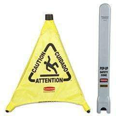 Rubbermaid Caution Pop-Up Safety Cone, Multilingual, 3-Sided, Fabric, Yellow