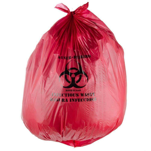 Janitorial SuperstoreJSS 24x 23 Red Bio-Hazard Medical Garbage Can Liners 1.30 Mil, 500cs, 8-10 Gal