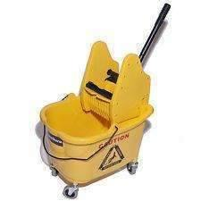 Janitorial Superstore 35 QT Plastic Down Pressure Wringer/Plastic Bucket Combo -Yellow, - Janitorial Superstore