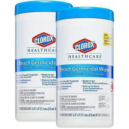 CloroxClorox Bleach Germicidal Wipes, 6 3/4 x 9, Unscented, 70/Canister