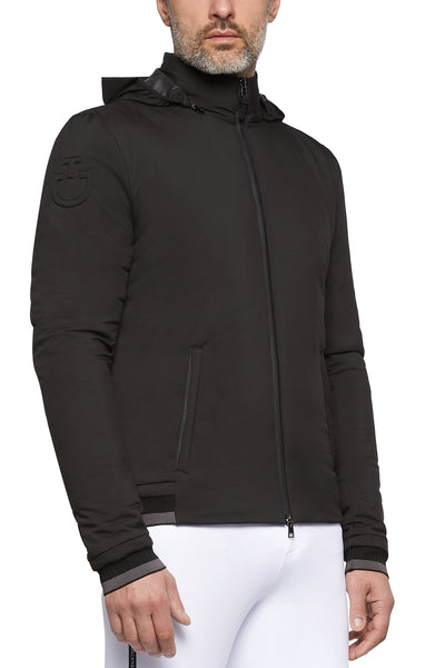Cavalleria Toscana Men's Nylon Stretch Puffer Jersey w/ Detachable Hood