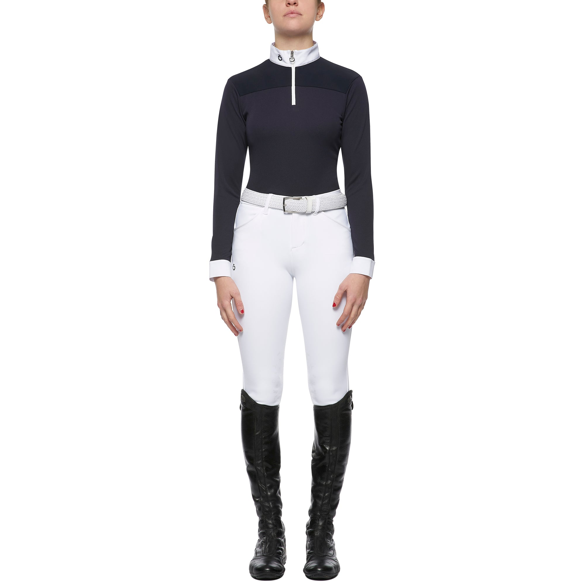 Cavalleria Toscana Kid's Piquet Stretch CT Horse L/S Zip Competition Shirt