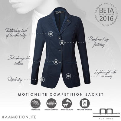 The ultimate hot weather riding piece is here! The revolutionary Motion Lite is the most breathable competition jacket on the market.  Yet, even in the brightest of shirts, you cannot see through it.  The Motion Lite Jacket won the BETA International 2016 Innovation Award for Rider Clothing because of its innovation, beautiful fit, and its lightweight and breathable qualities. This is one of those pieces that you simply must try on to get the full experience, as it far exceeds its hanger appeal.  Outstandin