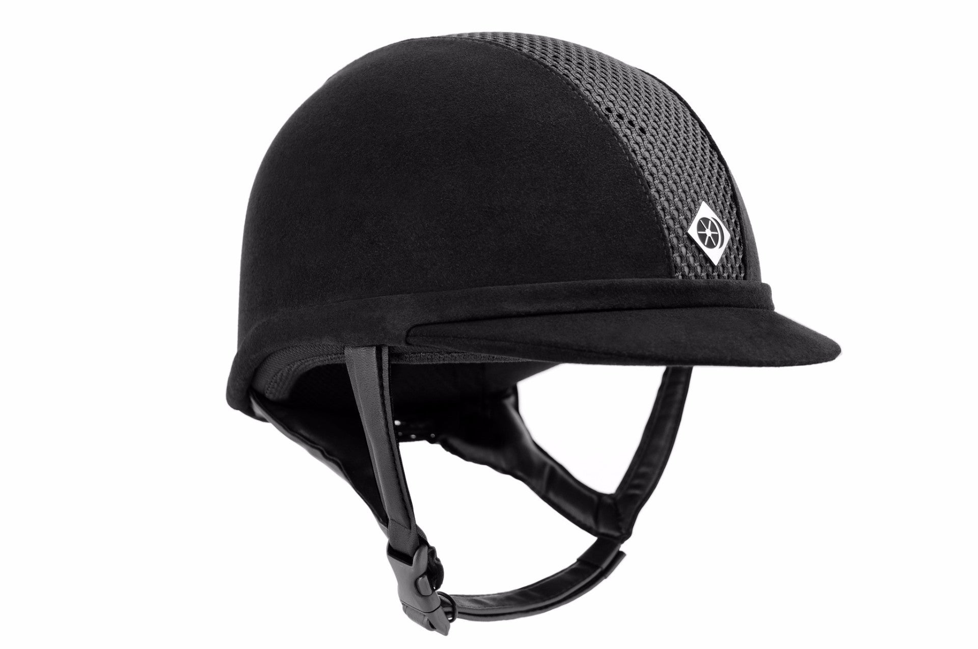 Charles Owen Ayr8 Helmet, black, low profile, centrally located front and rear ventilation apertures covered in mesh, while the side panels are covered in microfiber suede