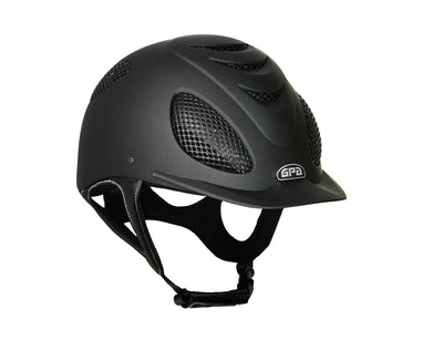 The GPA Speed Air 2X Helmet* is exceptionally lightweight and designed to offer free airflow for optimal cooling ventilation while riding.  This best-selling GPA riding helmet** is now available with the updated 2X harness, which is anatomically correct to ensure rider comfort and to allow an optimal fit High-tech lining wicks moisture and is removable and machine washable Sizing info:  Measure around your head at the widest part, be sure to do this with your hair up if that is how the helmet will be worn M