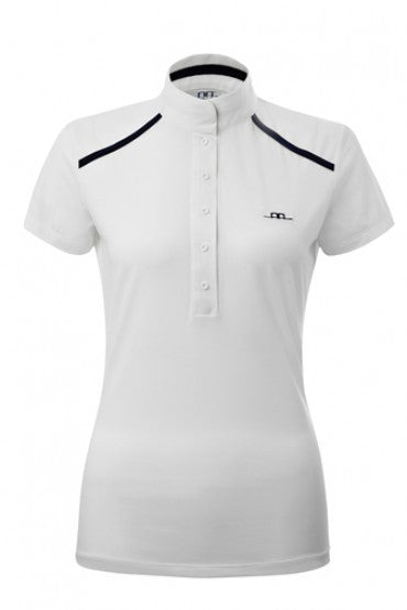 Modern ladies cometition polo shirt with standing collar. Snap fastening to the front, with a magnet to fasten collar with ease.  The luxury stretch fabric provides a comfortable performance fit, and is cool to the touch. Fabric: 73% Polyamide 27% Elastane. Machine washable at 40 degrees, iron on low heat. PLEASE ALLOW UP TO 10 DAYS FOR ALESSANDRO ALBANESE TO SHIP