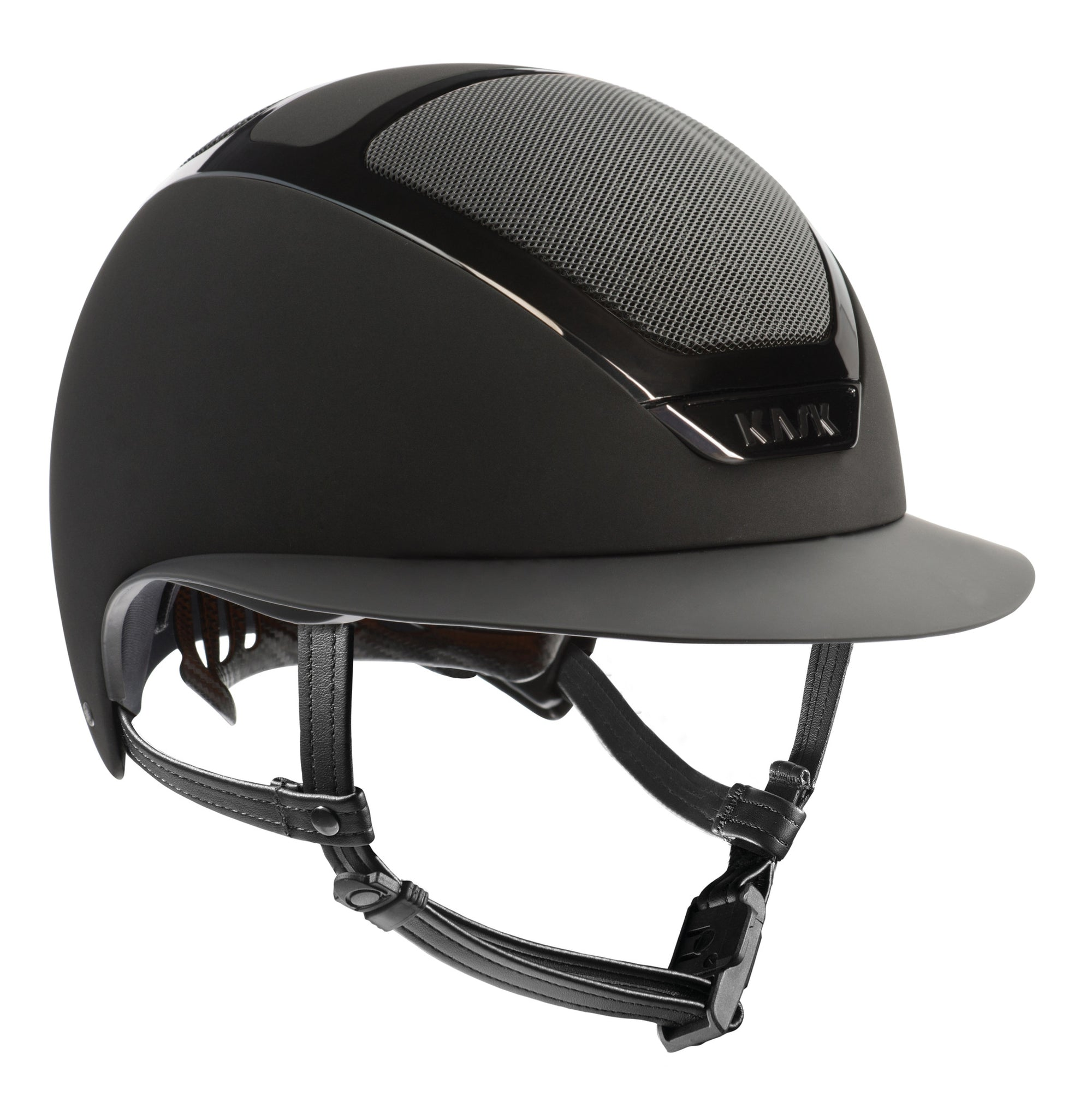 KASK's patented self-adapting adjustment system, introduced for the first time in the equestrian market, allows the helmet to fit the rider's head perfectly and automatically by gently cradling the back of the head. It is highly popular among the girls that tie their hair in pony tails.     The internal padding can be removed easily for washing either by hand or machine (at 30°C). The soft, eco-leather hypoallergenic chin pad helps prevent skin irritations. The fabric is easily washable, water-repellent and