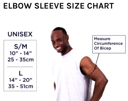 Size chart for elbow sleeve