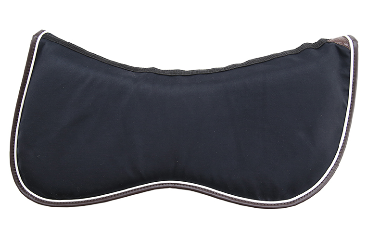 The Half Pad Intelligent Absorb Thin offers high quality shock absorption to the horse's back thanks to the memory foam inside. This half pad is ideal to use at shows or at home in combination with our Saddle Pad Intelligent Absorb or with our regular Saddle Pad. The Half Pad Intelligent Absorb can be opened up to take out the memory foam before washing. This way the half pad dries more quickly. Each Half Pad Intelligent Absorb has a white piping with a brown artificial leather edge to ensure a fancy look.