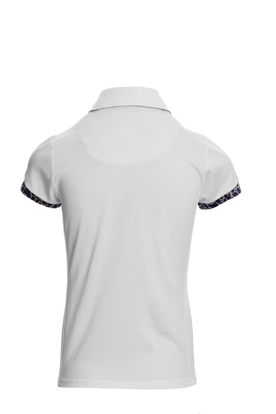 Stylish, chic and technical. This quarter zip Horseware Ireland Orla Tech Polo is a light weight technical mesh that is both moisture wicking and anti-bacterial. Look fabulous whilst staying cool in this flattering Polo embellished with limited edition print. 92% Polyester, 8% Spendex mesh Lightweight and super breathable / Wicking and antibacterial On trend quarter zip detail Limited edition animal print design detail  Machine washable