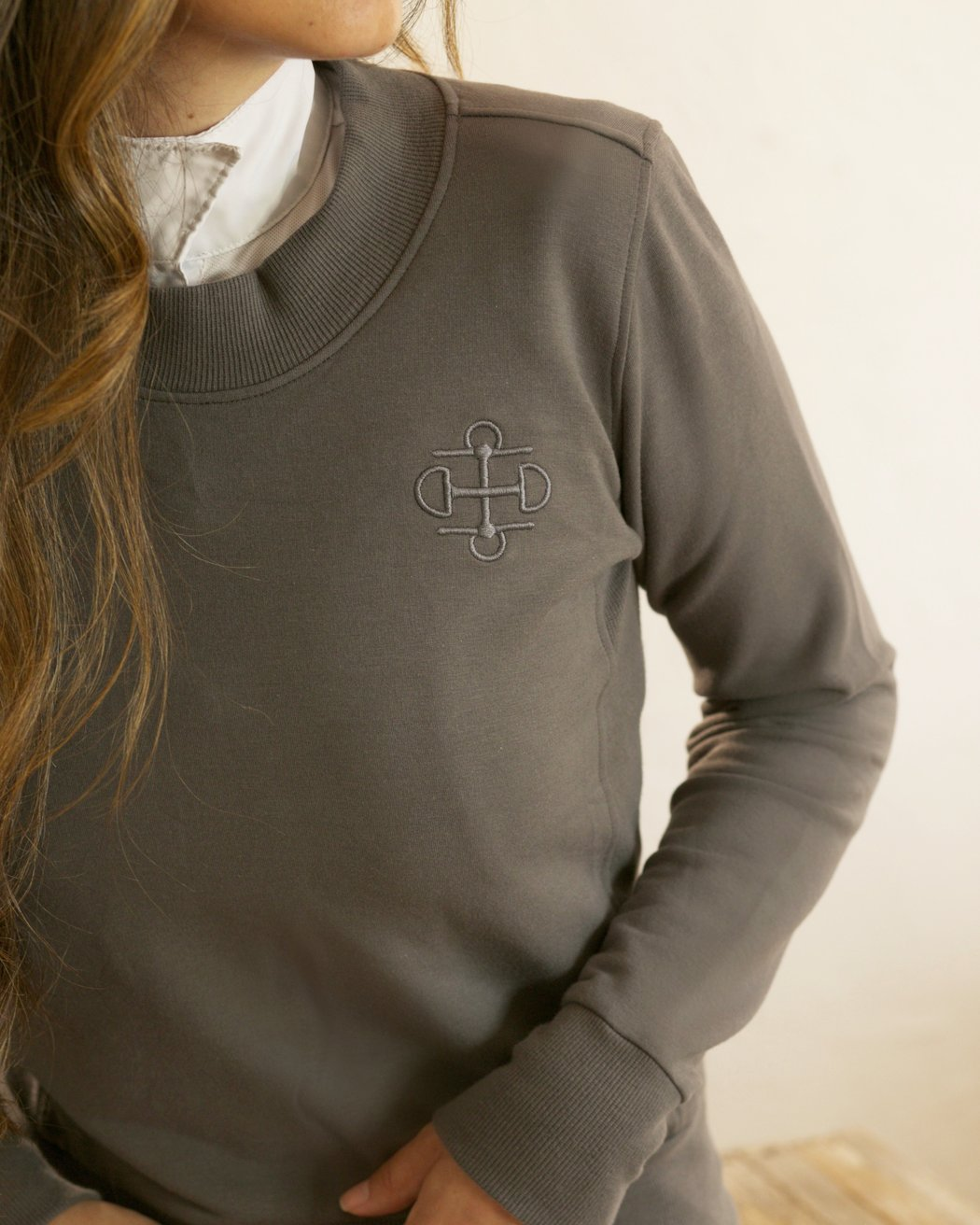 Two Bits Equestrian Matte Grey Crewneck Sweatshirt