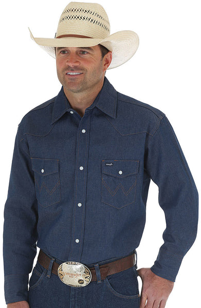 Wrangler Work Western Shirt- Indigo Denim Snap