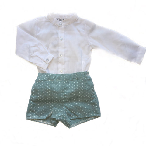 Boys white and mint spotty short outfit.